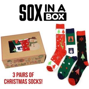 NEW Christmas Socks in Box (3 Pairs) SOX IN A BOX